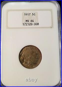 1917 Buffalo Nickel 5c Ngc Ms 64 Early Gen Holder Beautiful Coin