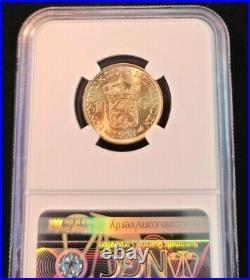 1917 Netherlands Gold 10 Gulden Wilhelmina I Ngc Ms 65+ Stunning Gem Bu Beauty