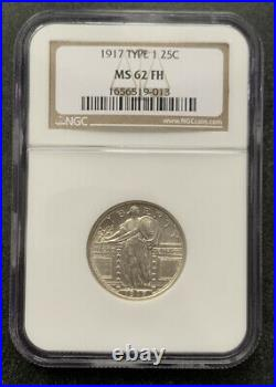 1917 Type 1 25C MS62FH NGC Standing Liberty Quarter Full Head Beautiful Coin OH