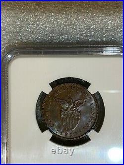 1918 S Philippines 1 Centavo Coin NGC MS64 BN Super Rare Grade Beautiful