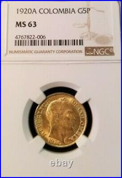 1920 Colombia Gold 5 Pesos G5p Ngc Ms 63 Scarce High Grade Beautiful Luster