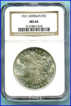 1921 1921-P MORGAN SILVER DOLLAR S$1 NGC MS64 MS-64 Near GEM Beautiful Coin