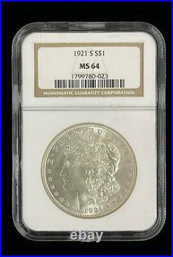 1921 S San Francisco Morgan Silver Dollar Graded MS 64 NGC Beautiful Coin #S40