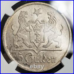 1923, Danzig (Free City). Beautiful Large Silver 5 Gulden Coin. Rare! NGC MS-63