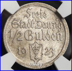 1923, Danzig (Free City). Beautiful & Scarce Silver ½ Gulden Coin. NGC MS62(+)