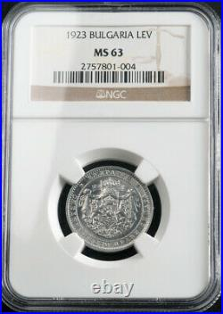 1923, Kingdom of Bulgaria, Boris III. Beautiful Aluminum 1 Lev Coin. NGC MS-63