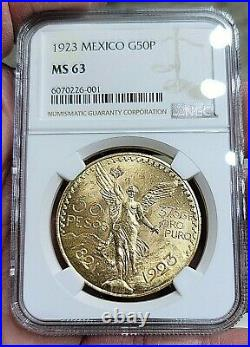 1923 MEXICO Gold 50 PESO NGC MS 63 Beautiful Lustrous! & Perfect Fresh Holder