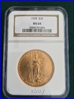 1924 $20 Gold St. Gaudens NGC Beautiful Coin! FREE SHIPPING