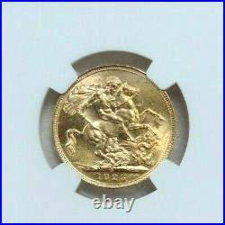 1925 Australia Gold 1 Sovereign George V Ngc Ms 62 Beautiful Luster Bright Coin