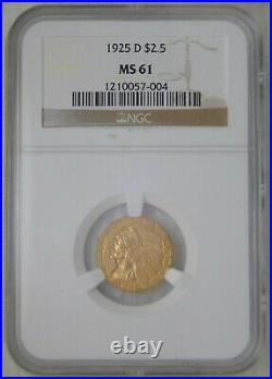 1925 D GOLD $2.5 INDIAN HEAD QUARTER EAGLE, NGC MS61 Beautiful Coin
