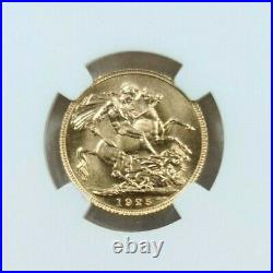 1925 Great Britain Gold 1 Sovereign Ngc Ms 65 Beautiful Gem Bu Monster Luster