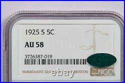 1925-S 1925 Buffalo Nickel NGC AU58 CAC Beautiful Flashy coin! WOW