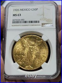 1926 MEXICO Gold 50 PESO NGC MS 63 Beautiful Lustrous! & Perfect Fresh Holder