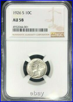 1926-s Mercury Silver Dime Ngc Au 58 Beautiful Coin Nearly Full Bands