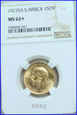 1927 South Africa Gold 1 Sovereign George V Ngc Ms 62+ Bright Beautiful Luster