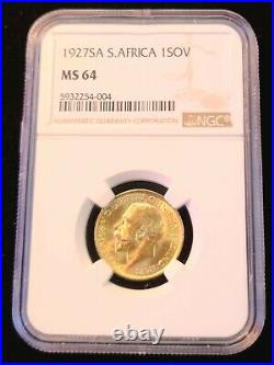 1927 South Africa Gold 1 Sovereign George V Ngc Ms 64 Bright Beautiful Bu Luster