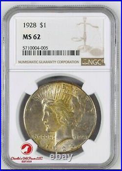 1928 $1 Peace Silver Dollar Coin Ngc Ms 62 Ngc 5710004-005 Beautiful Coin