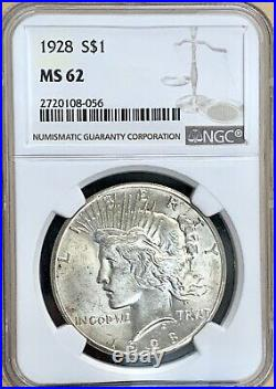 1928 P Peace Silver Dollar Ngc Ms62 Key Date Beautiful Coin Nice Luster