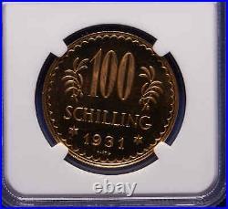 1931 Austria 100 Shilling NGC MS 65 Proof Like Beautiful Coin