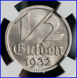 1932, Danzig (Free City). Beautiful Nickel 1/2 Gulden Coin. NGC MS-64