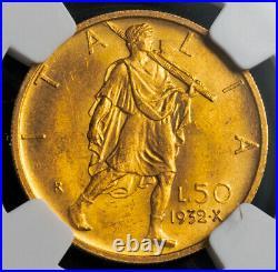 1932, Italy, Victor Emmanuel III. Beautiful Gold 50 Lire Coin. NGC MS-64 (+)