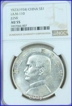 1934 China Silver 1 Dollar L&m 110 Junk Ngc Ms Au 55 Beautiful High Grade Coin