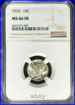 1935 Mercury Silver Dime Ngc Ms 66 Fb Full Bands Beautiful Coin Ref#75-005