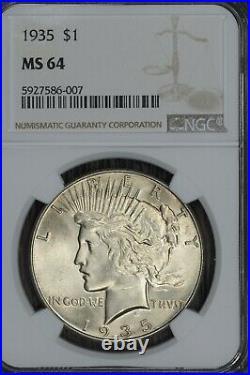 1935-P Peace Dollar NGC MS-64 Beautiful Original Coin, Looks Nicer