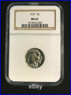 1937 Buffalo Nickel NGC MS-67 Beautiful Gem Coin