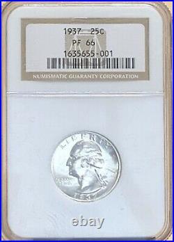 1937 Washington Silver Quarter Ngc Pf 66 Beautiful High Grade Proof Coin Pf66
