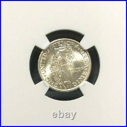 1937-s Mercury Silver Dime Ngc Ms 65 Fb Full Bands Beautiful Coin