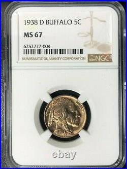 1938-d Buffalo Nickel Ngc Ms 67 Beautiful Coin Ref#77-004