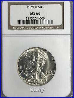 1939-d Ngc Ms66 Liberty Walking Half Dollar (beautiful Coin)