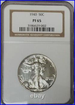 1940 Walking Liberty Half GEM PROOF NGC PF65 Beautiful Coin Old Holder