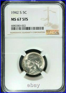 1942-s Jefferson Nickel Ngc Ms 67 5fs Beautiful Coin Ref#83-022