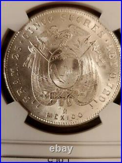 1944 Ecuador Silver 5 Sucres Struck In México Beautiful Coin. MS64 plus NGC