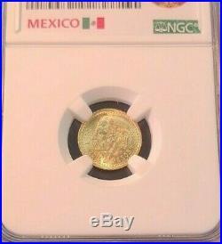 1945 Mexico Gold 2.5 Pesos G2.5p Hidalgo Restrike Ngc Ms 66 Stellar Gem Beauty