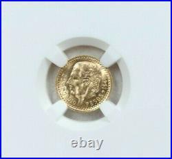 1945 Mexico Gold 2.5 Pesos Hidalgo Restrike Ngc Ms 66 Gem Bu Beautiful Coin