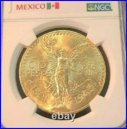 1945 Mexico Gold 50 Pesos G50p Ngc Ms 64 Beautiful Bu Dazzling Luster Scarce