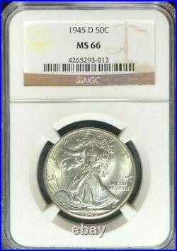 1945-d Walking Liberty Silver Half Dollarngc Ms 66 Beautiful Coin Ref#013