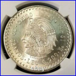 1948 Mo MEXICO SILVER 5 PESOS CUAUHTEMOC NGC MS 65+ HIGH GRADE BEAUTIFUL COIN