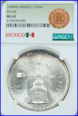 1949 Mexico Silver 1 Onza Ngc Ms 63 High Grade Key Coin Beautiful Toning