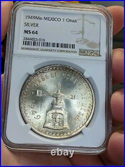 1949 Mexico Silver 1 Onza Ngc Ms 64 Lustrous Bu Beauty Key Coin Gold Toning