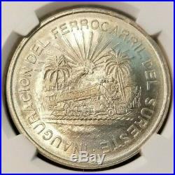 1950 Mexico Silver 5 Pesos S5p Southern Railroad Ngc Ms 65 Key Coin Beautiful