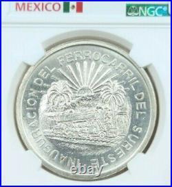1950 Mexico Silver 5 Pesos Southern Railroad Ngc Ms 64 Scarce Beautiful Bu Coin