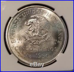 1950 Mexico Silver 5 Pesos Southern Railroad Ngc Ms 65 Key Date Beautiful Coin