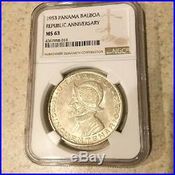1953 PANAMA SILVER BALBOA REPUBLIC ANNIVERSARY NGC MS 63 SCARCE Beautiful Coin