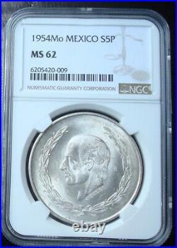 1954 Mexico $5 pesos silver Beautiful coin Uncirculated NGC 62