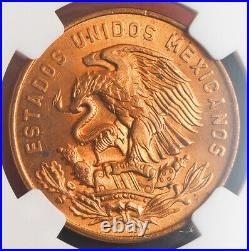 1955, Mexico (Republic). Beautiful Copper 20 Centavos Coin. NGC MS-65 RD