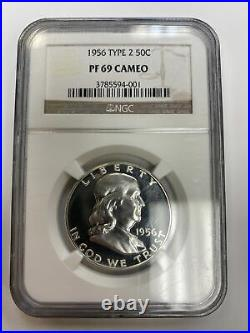 1956 Type 2 Franklin Silver Half Dollarngc Pf 69 Cameo Proof Beautiful Coin